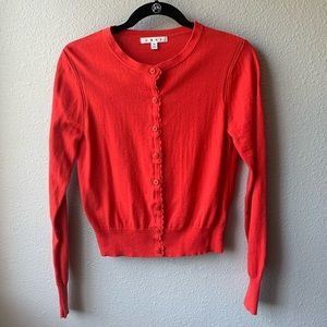 CAbi red poppy cardigan sz M lace cotton button up